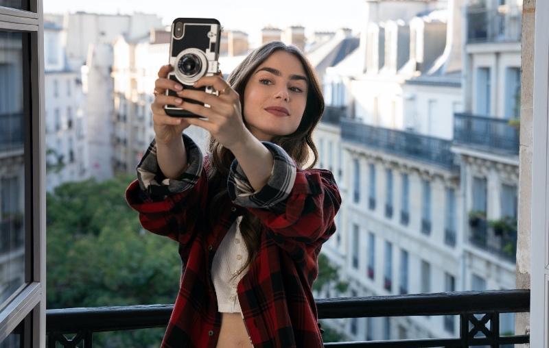 Vogue Singapore - Emily in Paris Netflix Lily Collins Beauty Hair Curls Waves Makeup Mike Desir