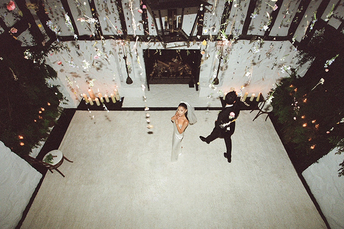 Aerial shot of Ariana Grande and Dalton Gomez during their at-home wedding