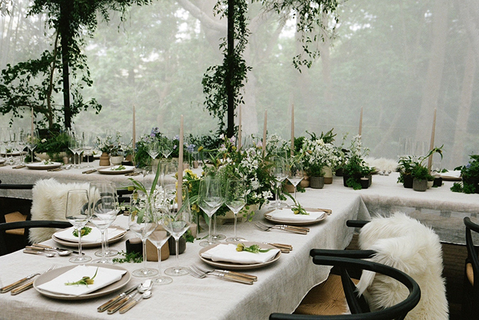 The table settings at Ariana Grande's wedding