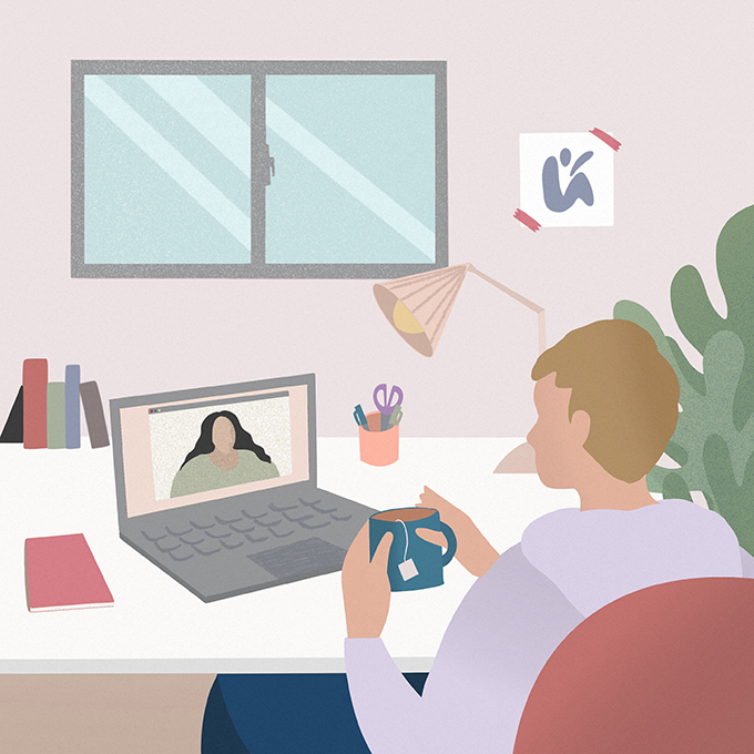 Illustration of man speaking to a woman over video call on his laptop