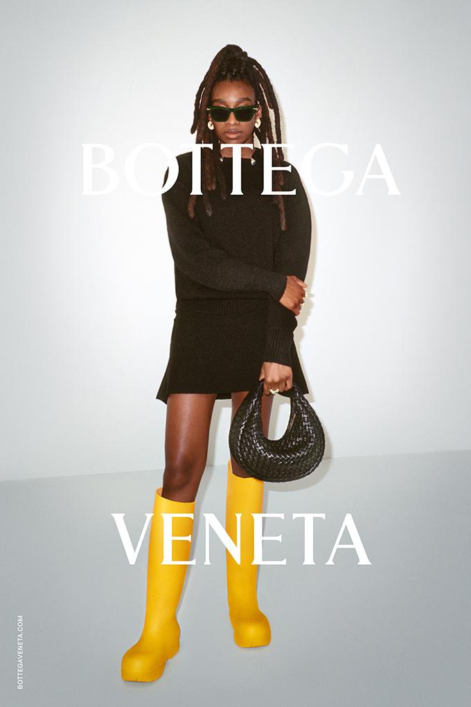 Little Simz modelling for the Bottega Veneta Wardrobe 02 collection
