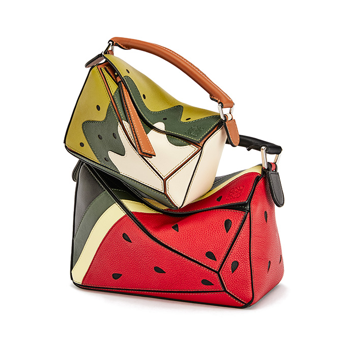 Kiwi and watermelon leather bags from the Loewe-Paula's Ibiza 2021 summer collection