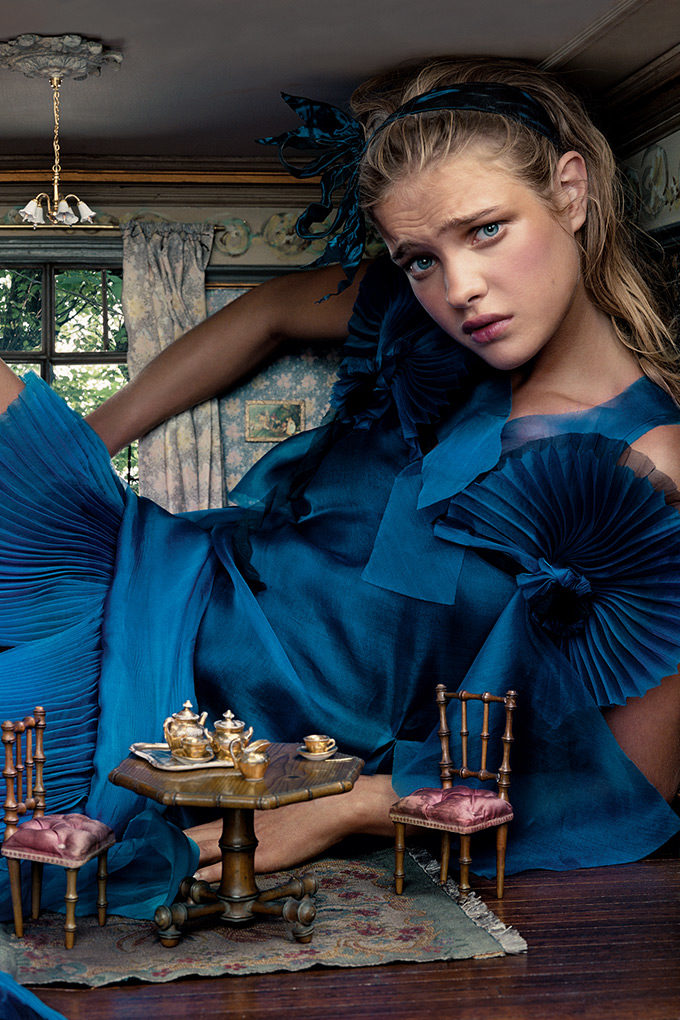 alice in wonderland Natalia Vodianova (as Alice) in American Vogue, December 2003