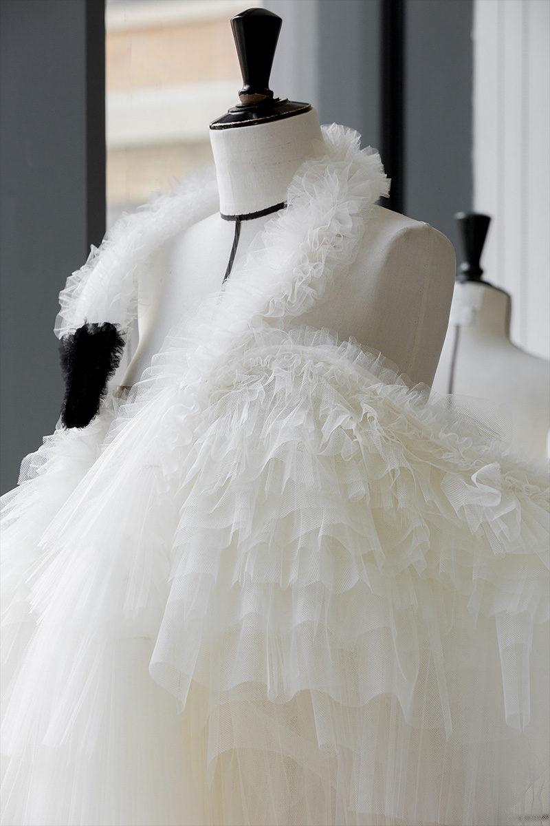 dior swan dress close-up