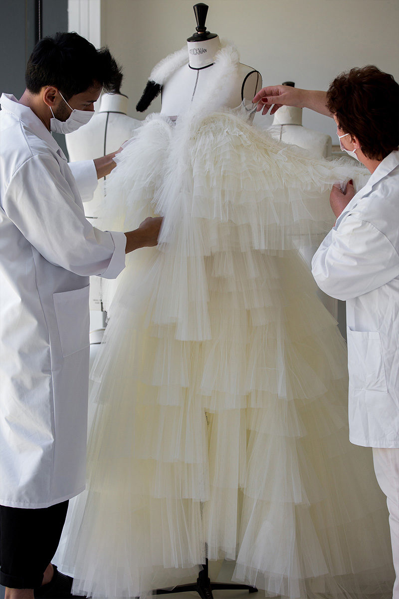 dior swan dress atelier front