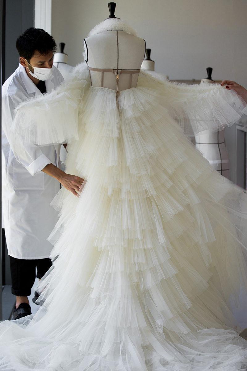 dior swan dress atelier back