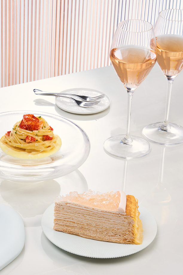 Savoury and sweet dishes with champagne from Lady M Champagne Bar