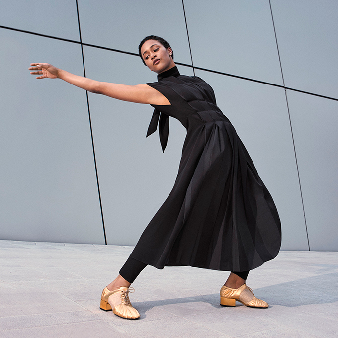 Model wearing shoes from Ferragamo's Let's Dance shoe collection
