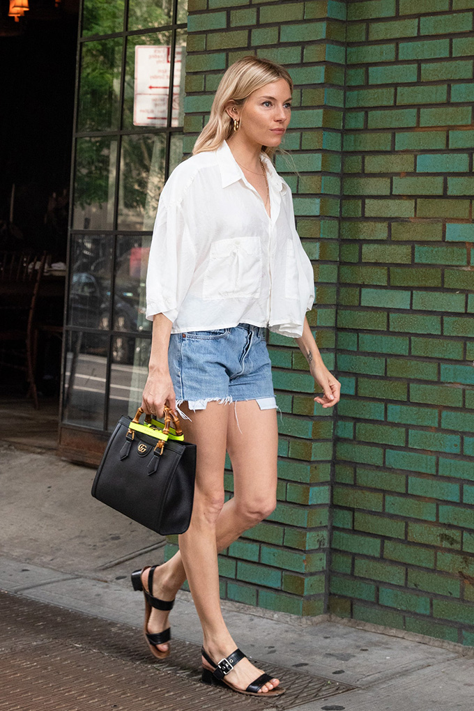 Sienna miller carrying the Gucci Diana bag