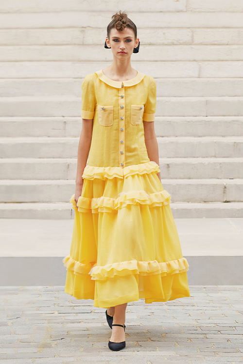 chanel dress yellow