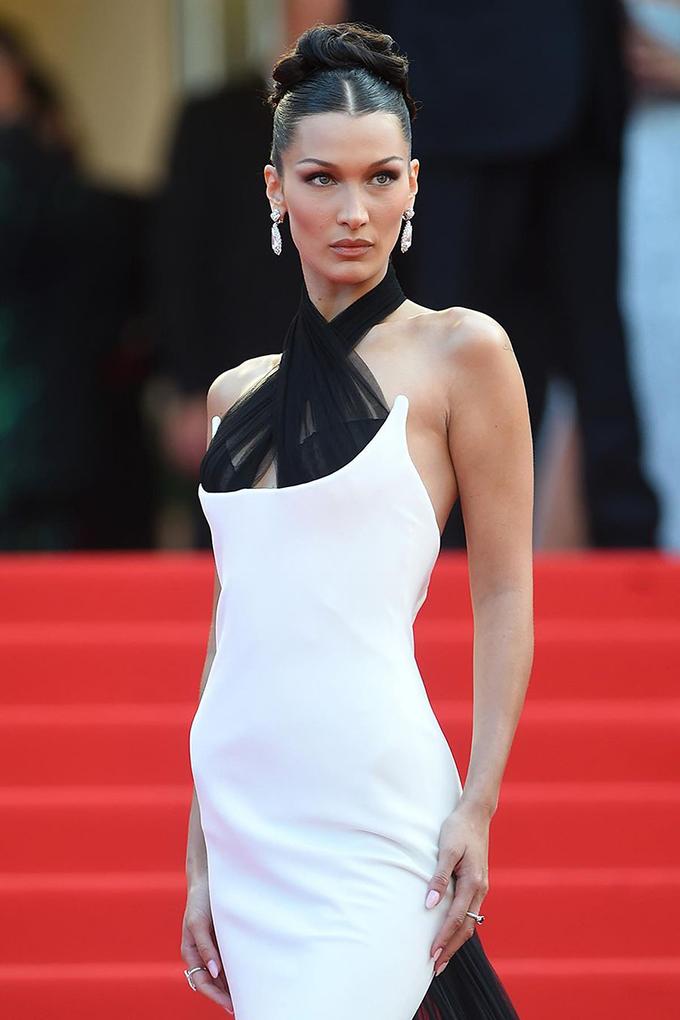 Bella Hadid in a custom Jean Paul Gaultier dress at Cannes Film Festival 2021