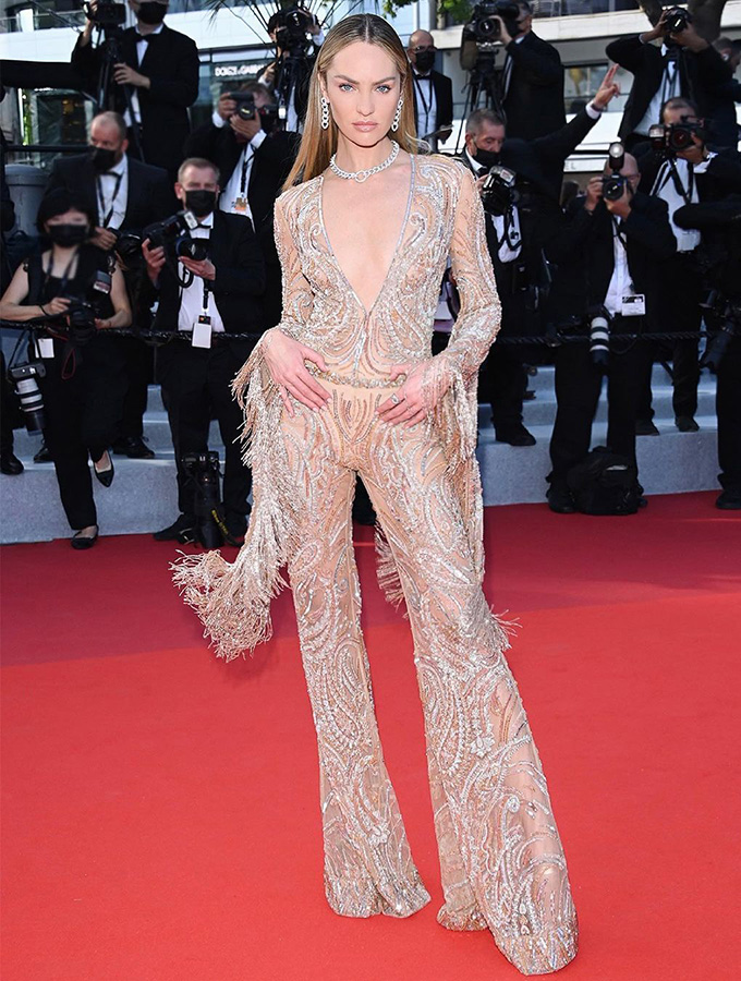 Candice Swanepoel in Etro at Cannes Film Festival 2021