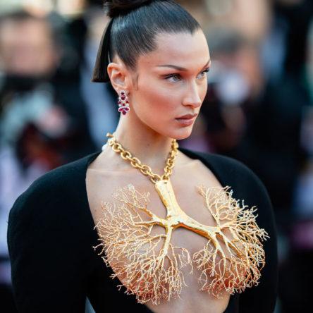 Bella Hadid Schiaparelli lung necklace front