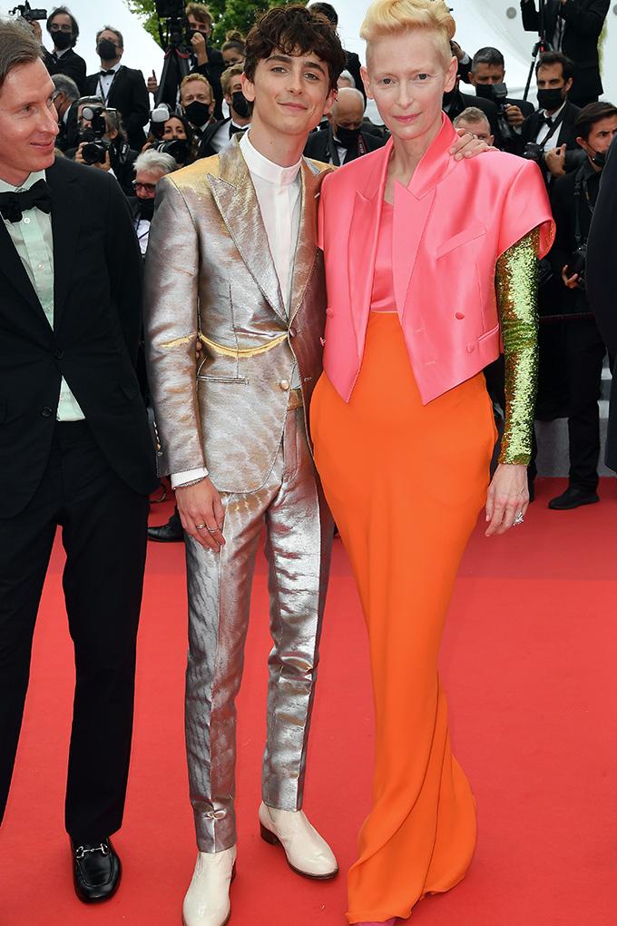Timothée Chalamet (left) in Tom Ford and Tilda Swinton in Haider Ackemann at Cannes Film Festival 2021