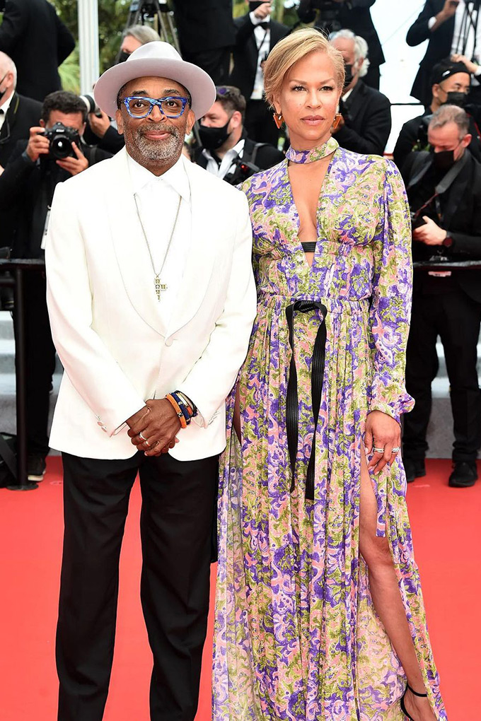Spike Lee and wife Tonya Lee, both in Louis Vuitton at Cannes Film Festival 2021