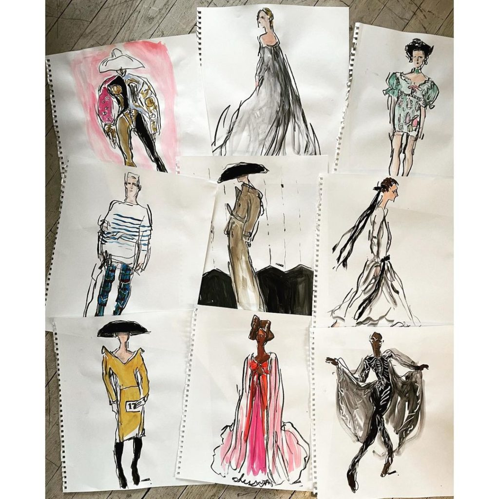 Works by fashion illustrator Richard Haines, who created an art NFT for Paris Fashion Week