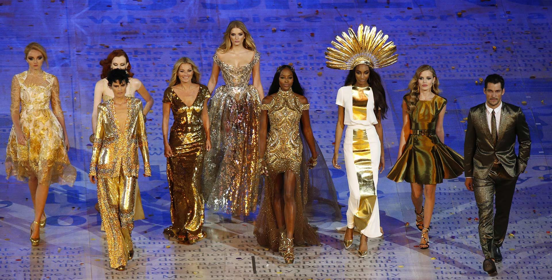 British supermodels including Kate Moss, Lily Donaldson, and Naomi Campbell at the 2012 London Olympics