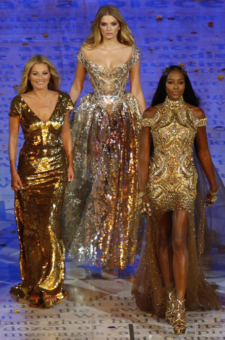 British supermodels Kate Moss, Lily Donaldson, and Naomi Campbell at the 2012 London Olympics