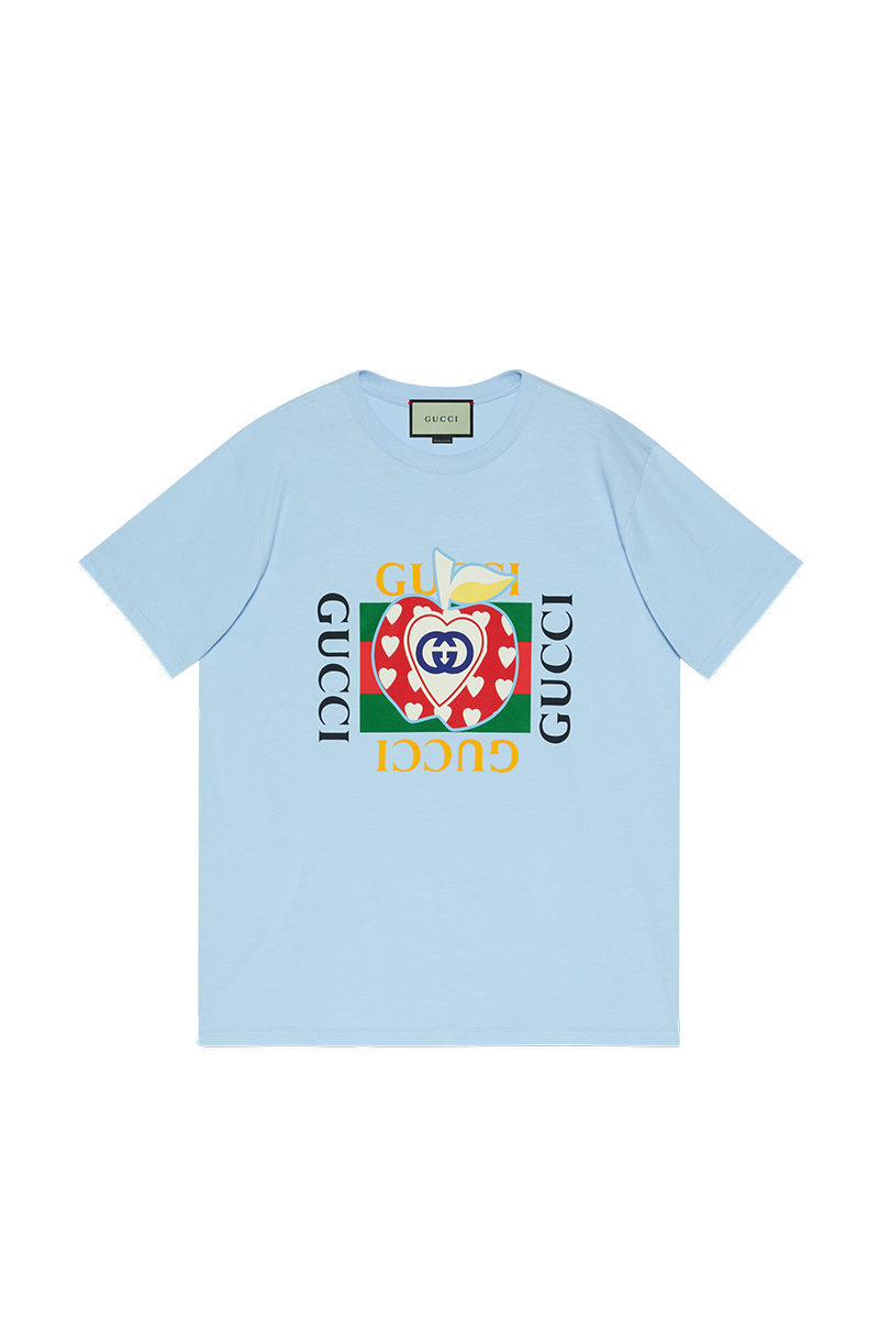 Chinese Valentine's Day Gucci Les Pommes Blue T-shirt