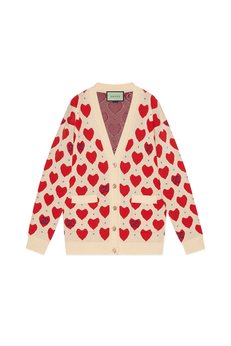 Chinese Valentine's Day Gucci Les Pommes Heart Cardigan