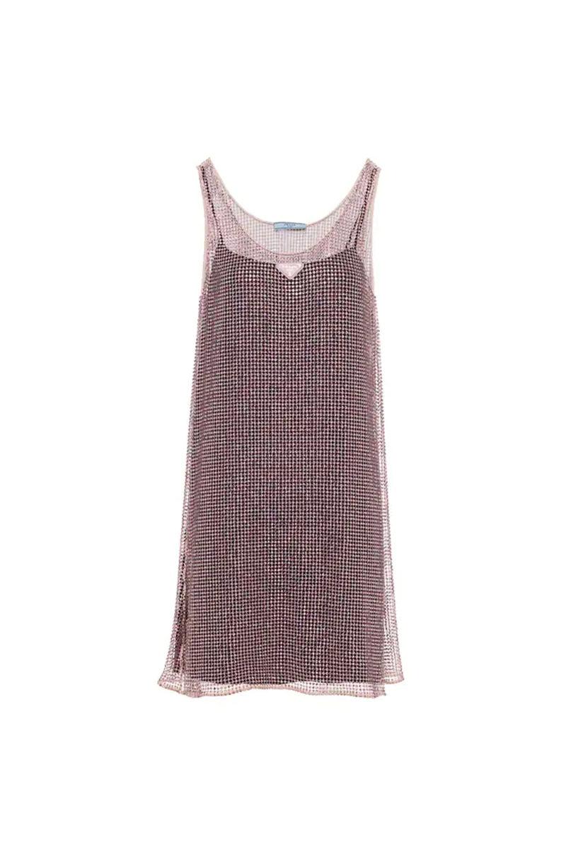 Chinese Valentine's Day Prada Light Rose Rhinestone Mesh Mini Dress