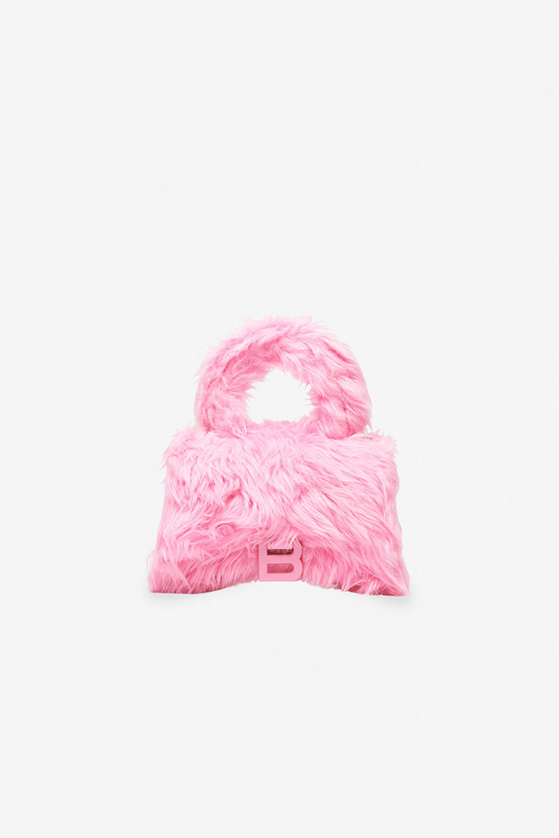 Chinese Valentine's Day Balenciaga Fluffy Pink Faux Fur Hourglass Top Handle Bag