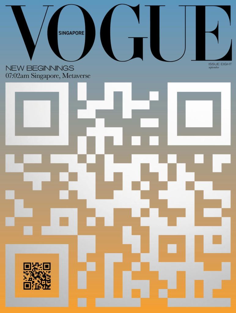 Vogue Singapore September 2021 'New Beginnings' print issue cover with QR code leading to digital NFT covers