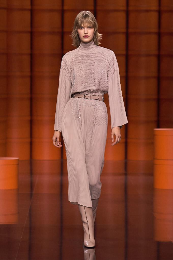 Hermes autumn/winter 2021 Beige Pleated Dress