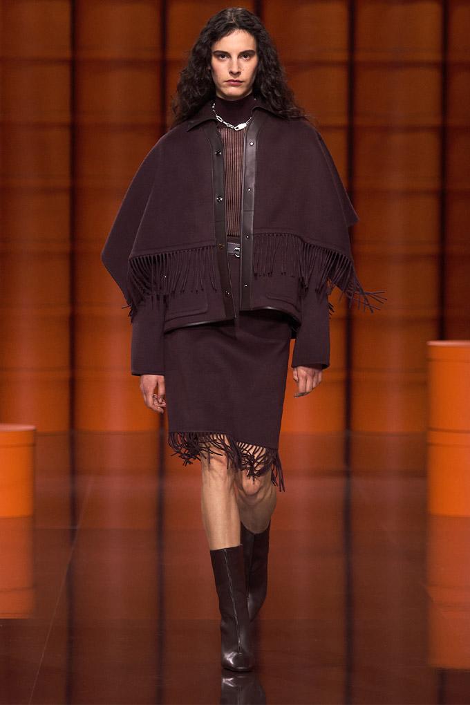 Hermes autumn/winter 2021 Burgundy Jacket + Skirt