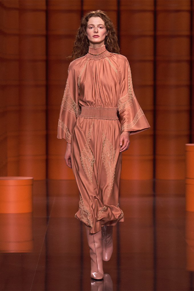 Hermes autumn/winter 2021 Orange Dress with Embroidery