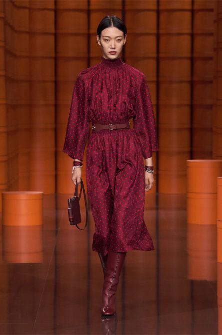 Hermes AW21 Red Polka Dot Dress