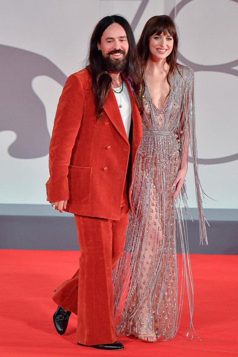 Dakota Johnson and Alessandro Michelle in Gucci