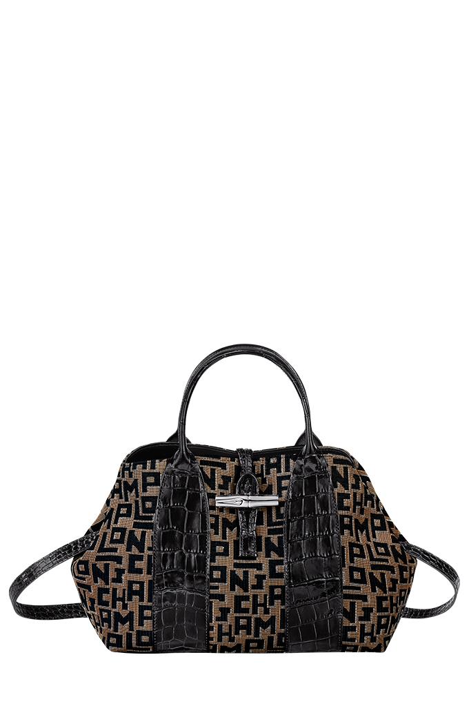 Roseau Jacquard LGP Top Handle Bag in Taupe/Black_SGD815