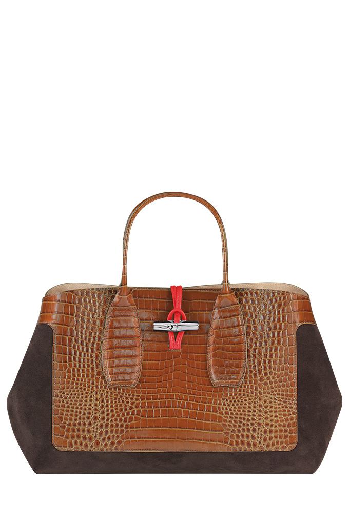 Roseeau Frame Large Top Handle Bag in Cognac_SGD1440